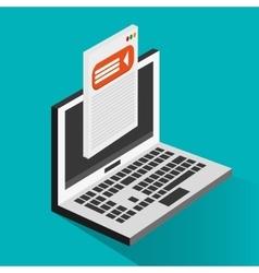 Laptop and social media design vector