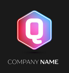 Letter q logo symbol in colorful hexagonal vector