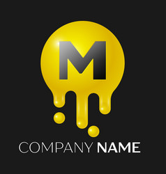 M letter splash logo yellow dots and bubbles vector