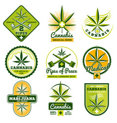 Marijuana hashish drug medicine logos and vector