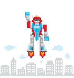 Pixel art retro game style cartoon flying robot vector