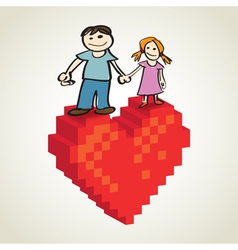 Pixel Heart Couple vector image vector image