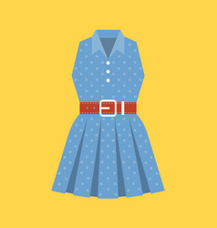 Retro polka dot woman dress vector