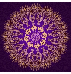 Round vintage violet and gold pattern vector image vector image