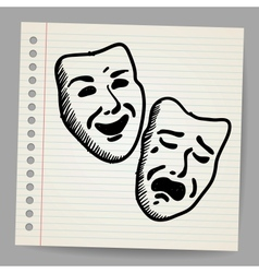 Scribble theater masks vector image