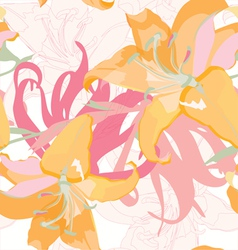 seamless floral design with lily vector image vector image