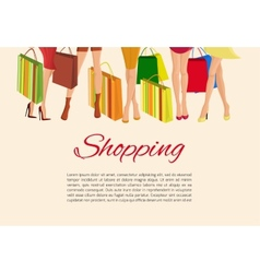 Shopping girl legs poster vector