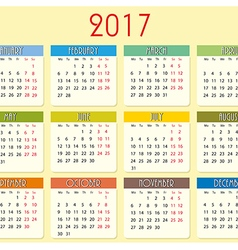 Simple calendar of 2017 year vector