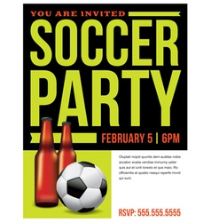 Soccer party invitation flyer template vector