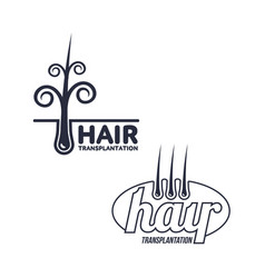 Two hair transplantation logo logotype templates vector