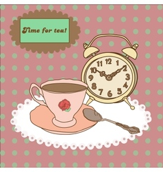 Vintage tea mug saucerspoon and alarm clock on vector image