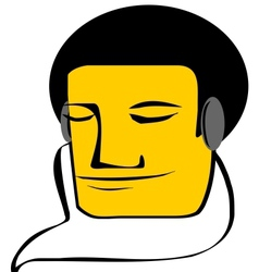 Young man listening to music vector