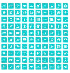 100 landmarks icons set grunge blue vector image vector image