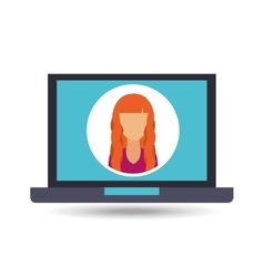 Girl with pc icon vector