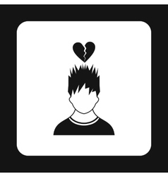 Man and broken heart icon simple style vector