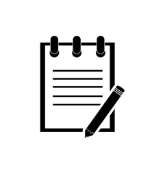 Notepad and pencil icon vector