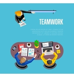 Top view teamwork business banner vector