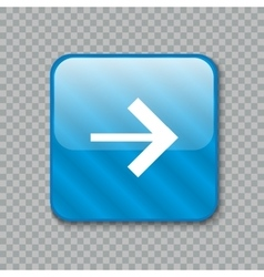 Right arrow icon glossy blue button vector