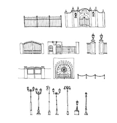 Set of urban elements vector