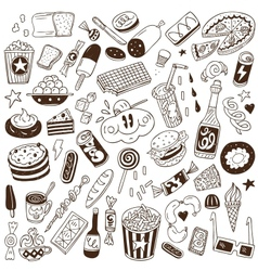fast food - doodles vector image