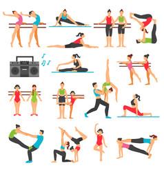 Dance training decorative icons set vector