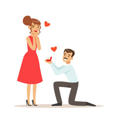 Elegant man proposing marriage to beautiful woman vector