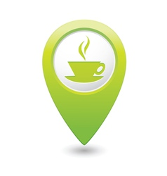 cafe icon green map pointer vector image