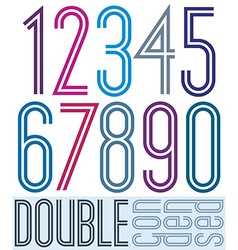 Condensed colorful double numbers on white vector