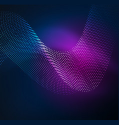 3d illuminated wave of glowing particles vector