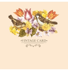 Spring floral retro card with bird sparrows vector