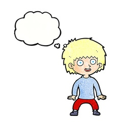 Cartoon excited boy with thought bubble vector