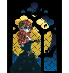 Witch near gothic window3 vector