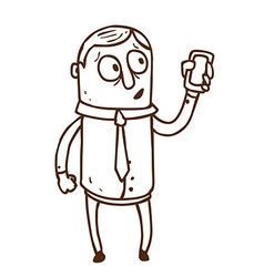 Hand drawn iphone man vector