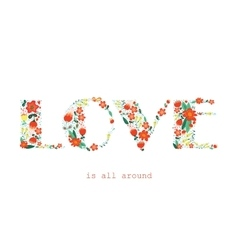 Floral card with love word vector