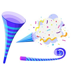 Party horn and pop up cone vector