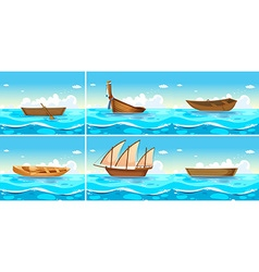 Ocean scenes with boats on water vector