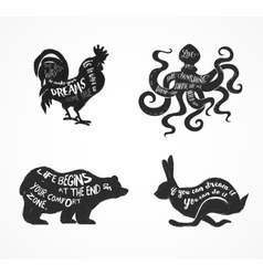 Wild animals silhouettes with lettering quots vector image