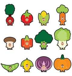 Stickers vegetables vector