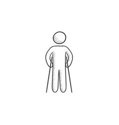 Man with crutches sketch icon vector image