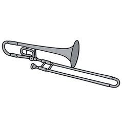 Classic silver trombone vector