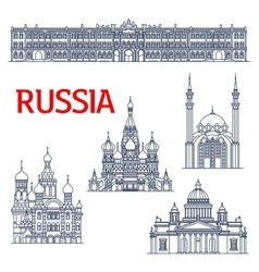 Thin line landmarks for tourism in russia or ussr vector