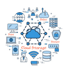 Blue round cloud storage concept vector