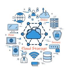 blue round cloud storage concept vector image vector image