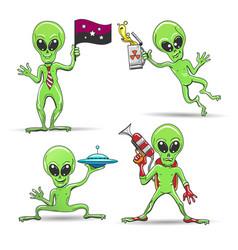 cartoon aliens set vector image