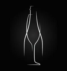 champagne glass logo champagne bottle on black vector image