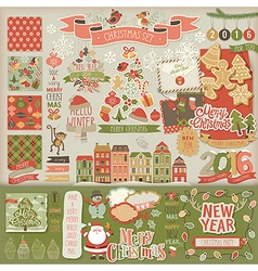 Christmas scrapbook set - decorative elements vector image vector image