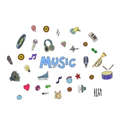 Colored music doodles vector