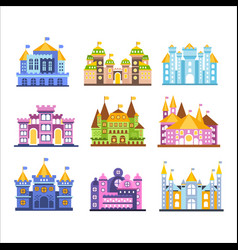 Colorful castles and mansions set collection of vector
