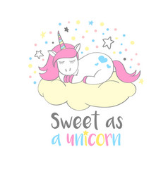 cute unicorn with lettering sweet as a unicorn vector image vector image