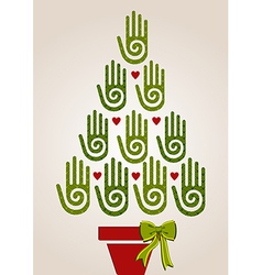 Diversity green hands in Christmas Tree vector image vector image